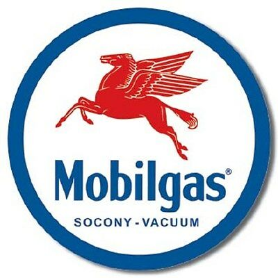 "11.75"" Tin Sign Round Mobil Gas Pegasus Metal Sign New"