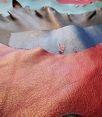 10 Goatskin Leather Offcuts, Assorted colours and sizes, Bookbinding/Crafts