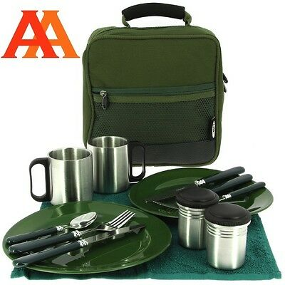 NGT Deluxe Picnic Camping Fishing Cutlery Bag Set with Plates Knives Forks Mugs