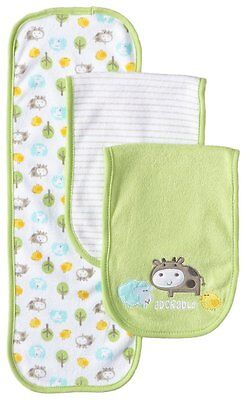 Gerber Unisex-Baby 3 Pack Terry Burp Cloths Adorable Farm Animals, Green