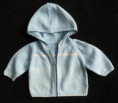 Baby clothes BOY 0-3m blue soft zip hood cardigan knitted COMBINE POST SEE SHOP!