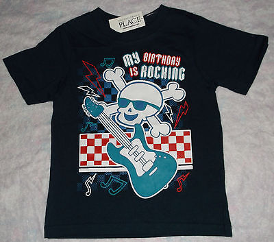 "NWT Toddler Boys Short Sleeve ""My Birthday Is Rocking"" Skull Shirt Size 3T"