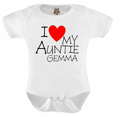 Personalised Baby Vest I Love My Auntie Named Love Heart Aunt Baby Vest T-shirt
