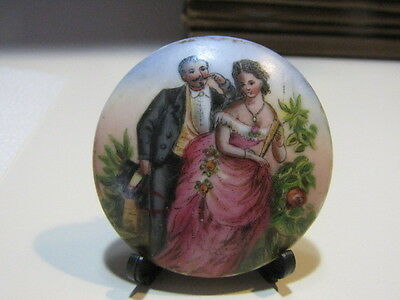 Antique Porcelain Hand Painted Double Sided Plaque Couple Naughty Women  Germany