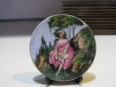 Antique Porcelain Hand Painted Double Sided Plaque  Naughty Women  Germany