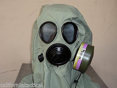 Military 40mm/NATO Gas Mask w/Drink Port, Hood, Pouch & NBC/CBRN Filter Exp 2022