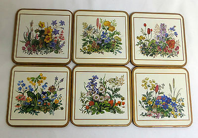 Vintage Pimpernel Set of 6 Coasters Wild Flowers Made in England