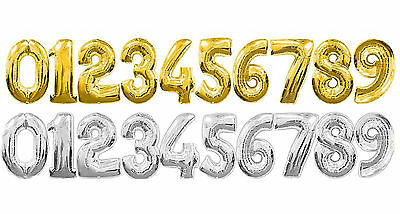"30"" Gold and Silver Large Number 0-9 Foil Air Balloons Birthday Party Wedding"