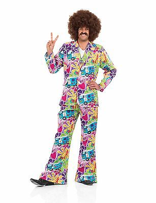 Mens Psychedelic Suit Costume For 60s Fancy Dress Adults