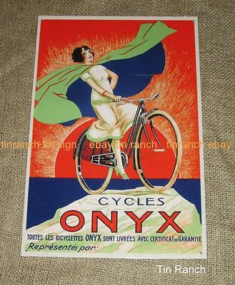 ONYX CYCLES bicycle TIN SIGN vintage FRENCH BIKE CYCLING advertising retro deco