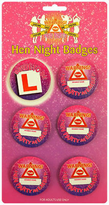 6 Hen Party Badges - 5.7cm - Party Decoration Printed Pink Night