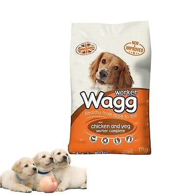 Dry Dog Food Wagg Worker Complete Mix Chicken and Vegetables - 17 kg
