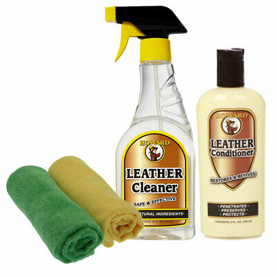 Howard Leather Care Set of 1x Leather Cleaner, 1x Leather Conditioner, 2x Cloths
