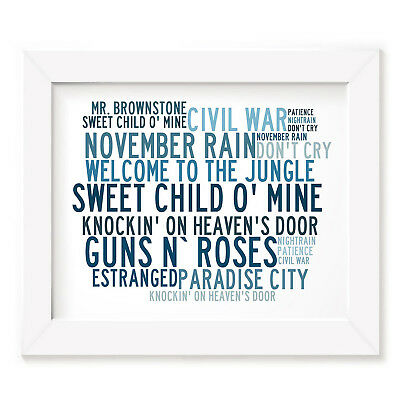 `Crystalline` GUNS N ROSES Art Print Typography Song Lyrics Signed Rock Poster
