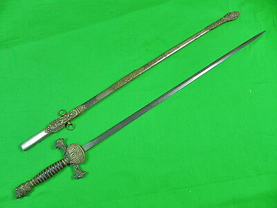 Vintage Old US Knights of Pythias Masonic Fraternal Engraved Sword w/ Scabbard