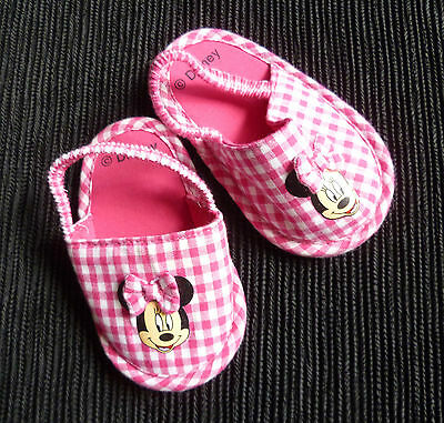 Baby clothes GIRL 3-6m Disney Minnie Mouse canvass pink/white sandals/shoes NEW!
