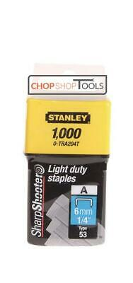 Stanley 0-TRA204T Type 53 Light Duty Staple 6mm x Pack of 1000 STA0TRA204T