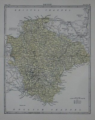 Original 1890 County Map DEVON England Plymouth Exeter Dartmoor Totness Torquay