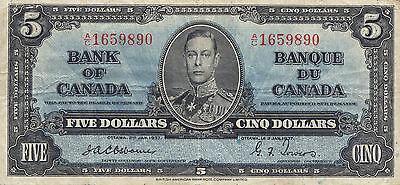✪ 1937 Bank of Canada $5.00 Bank Note - Osborne Towers VF