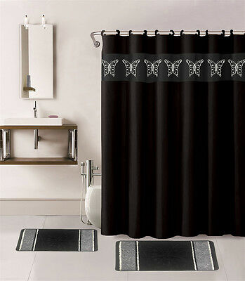 15  Embroidery Butterfly Design Bathroom Mats Set Rug Shower Curtain and Hooks