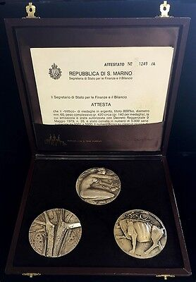 1979 Silver San Marino Sculptor Angelo Grilli 3 High-Relief 63 Mm Medals