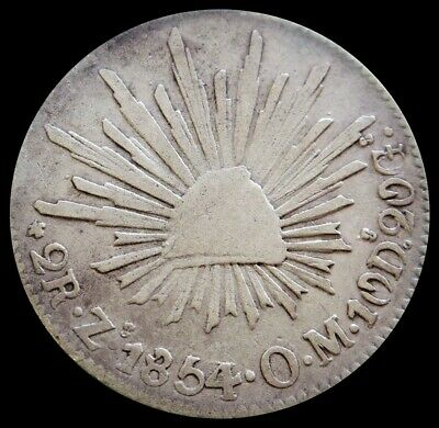 1843 Zs Om Silver Mexico 2 Reales Coin Zacatecas Mint