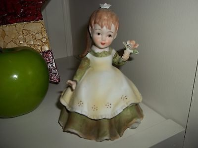 Lefton Hand Painted China Figurine Little Girl With Flowers