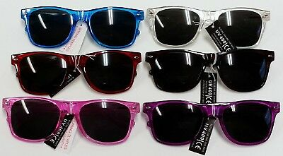Lot Of 6 Sunglasses Plastic Uv 400 Spring Temples Red Pink Blue Purple Frames