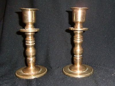 Pair of Vintage  Brass Candlesticks - lead weighted - 19th century