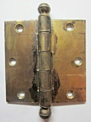 """1 National Antique Square 3-1/2"""" Brass Plated Mortise Door Hinge Ball Tip Finial"""