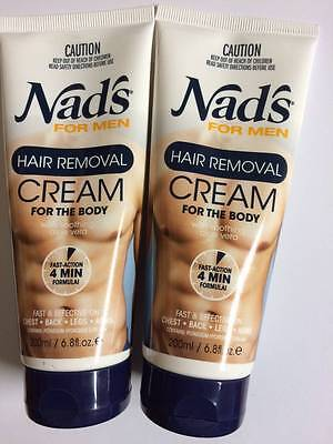 Nad's For Men Body Hair Removal Cream 6.8 oz (Pack Of 2 Tubes)