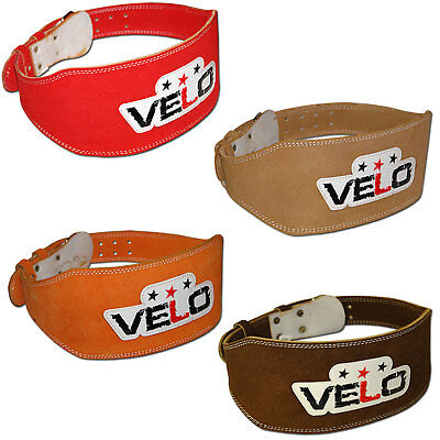 "VELO Weight Lifting 6"" Leather Belt Back Support Strap Gym Power FitnessTraining"