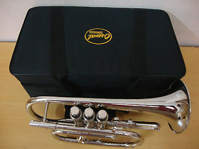 TOP SALE! BRAND  NEW SILVER Bb CORNET TRUMPET+WITH FREE CASE+MOUTHPIECE