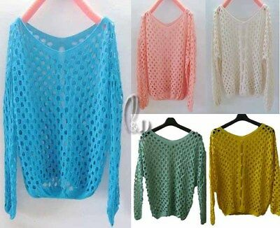 WHOLESALE BULK LOT 10 MIXED COLOUR Hollow Crochet Pullover Sweater Top T099