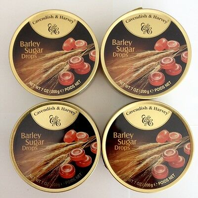 4 x 200g TINS OF CAVENDISH & HARVEY BARLEY SUGAR DROPS - MADE IN GERMANY