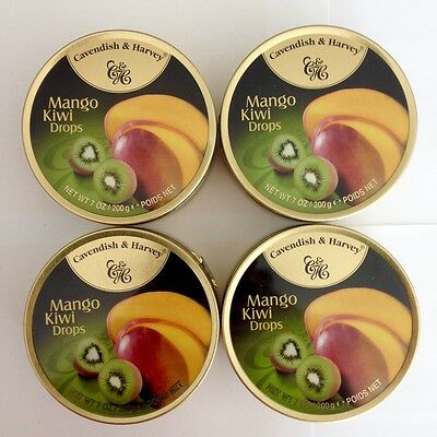 4 x 200g TINS OF CAVENDISH & HARVEY MANGO KIWI DROPS - MADE IN GERMANY