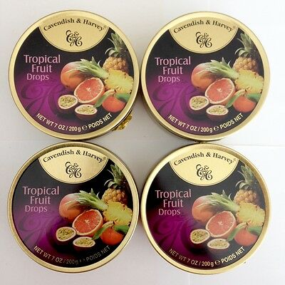 4 x 200g TINS OF CAVENDISH & HARVEY TROPICAL FRUIT DROPS - MADE IN GERMANY