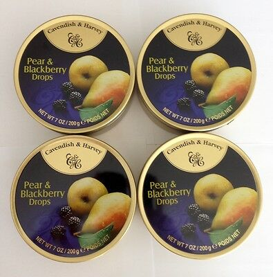 4 x 200g TINS OF CAVENDISH & HARVEY PEAR & BLACKBERRY DROPS - MADE IN GERMANY