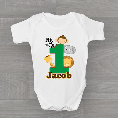 Personalised 1st First Birthday Animal Safari, Cute Baby Grow Body Suit Vest
