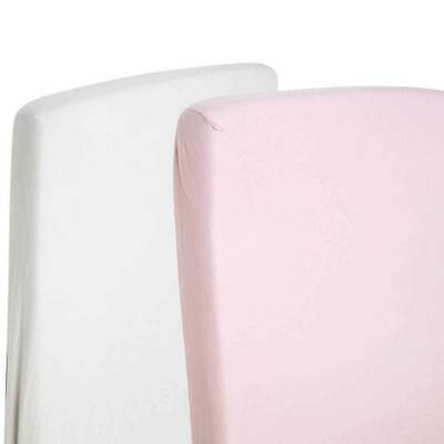 2x Crib Jersey Fitted Sheets 100% Cotton Pram 40x90cm White / Pink