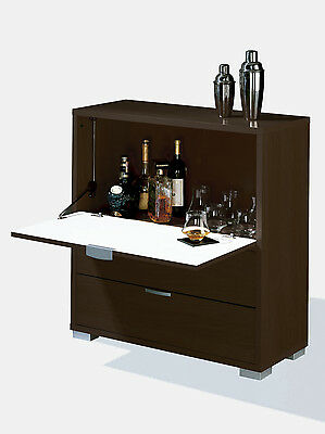 Mueble Bar con barra abatible y dos cajones de 81x84 color wengue
