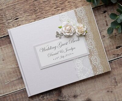Luxury Personalised Wedding Guest Book - Vintage Style Rose & Butterfly Design