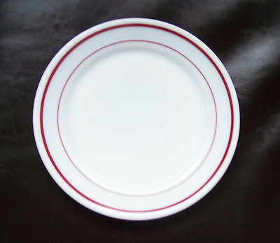 """Lot of 4 NOS Pyrex Tableware Restaurantware 8"""" Luncheon Plates Ruby Red Band"""