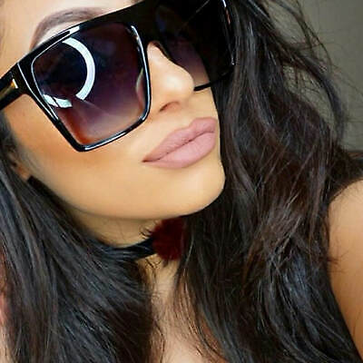 d594af2f2 Flat Top Large Oversized Women Sunglasses Square Black and Brown Frame  Aviator