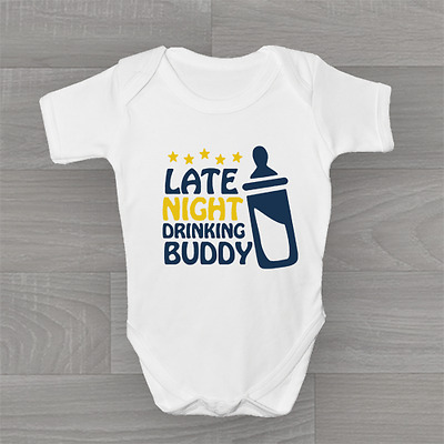 Late Night Drinking Buddy, Cute Funny Baby Grow Body Suit Vest, Unisex