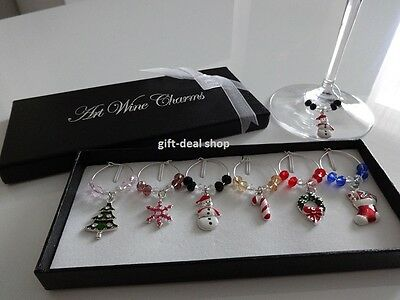 1 Box 6 Mixed Christmas Wine Glass Charms Gift Table Decorations - HIGH QUALITY