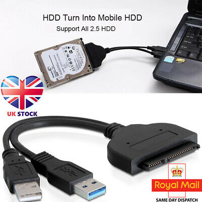 """USB 3.0 To SATA 2.5"""" External HDD SSD Hard Disk Drive Adapter Converter Cable PC"""