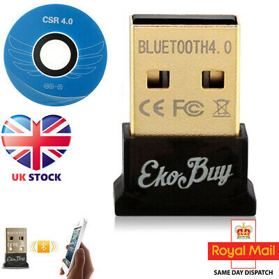 USB Bluetooth v4.0 Adapter Dongle PC Windows 10 8 7 XP Vista in Retail Package
