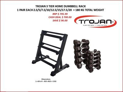 Dumbbell Rack 3 Tiers + 180 Kg Rubber Hex D/Bells
