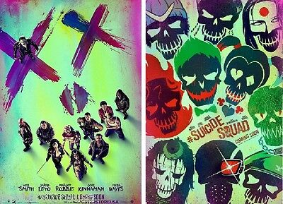 SUICIDE SQUAD ORIGINAL MOVIE POSTER EACH DS 27x40 in 2-sided SET OF TWO VERSIONS